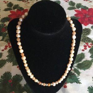 Gorgeous Handmade Textured Cream/ Orange Necklace